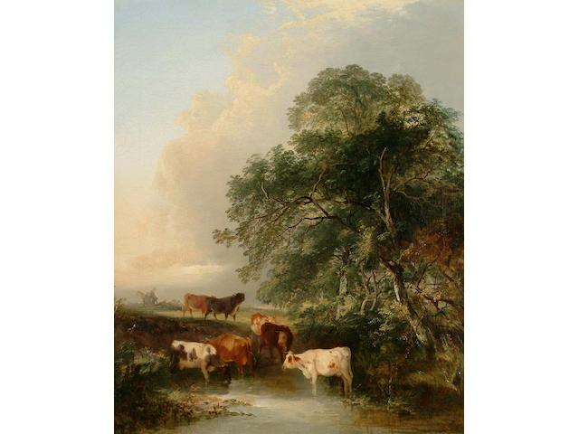 Edward Charles Williams (British, 1807-1881) Cattle watering 61 x 51 cm