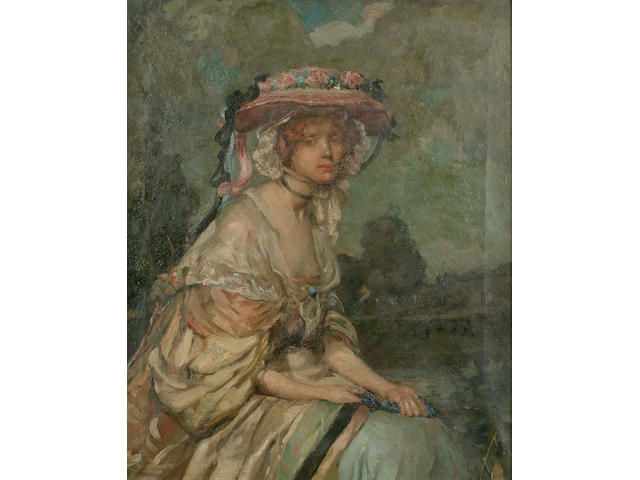 Constance Rea (British, 19th/20th Century) Portrait, half length, of a beautiful lady seated in a landscape, 63.5 x 52.5cm