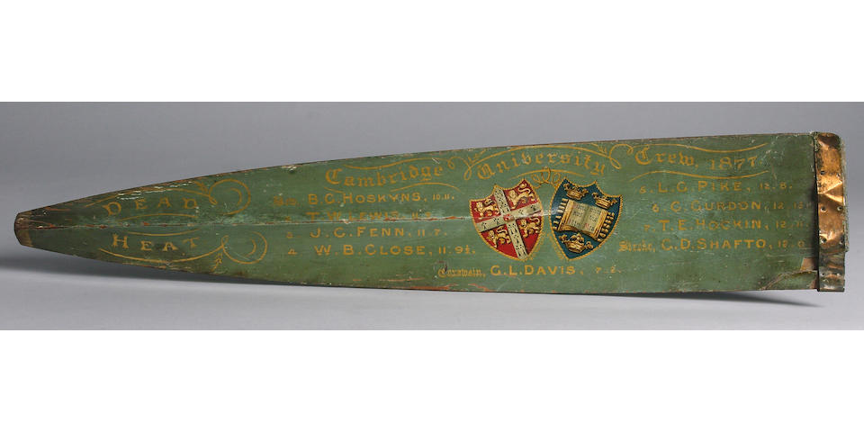 A Decorated Oar Blade, Cambridge University Boatrace Crew 1877 84 x 16cm.(33 x 6.5in.)
