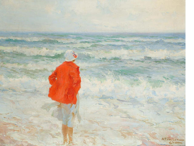 Charles Garabed Atamian (Turkish, 1872-1947) Girl in the surf 66 x 82cm.