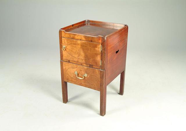 A George III mahogany tray top commode
