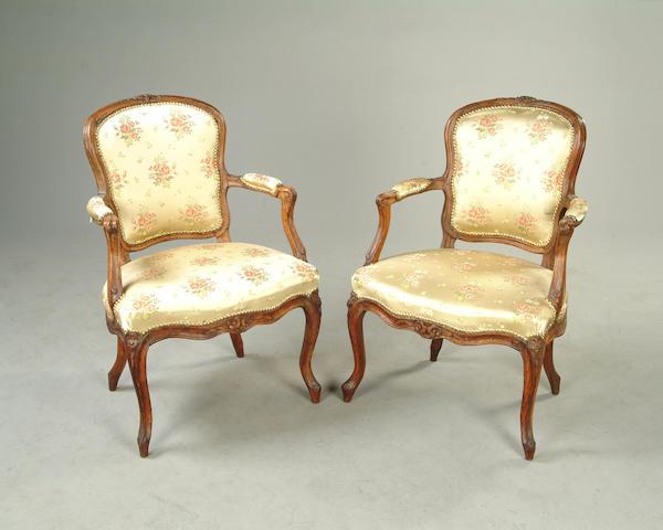 A pair of Louis XV beechwood fauteuils