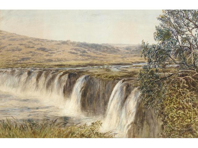 Arthur Henry Enock (British, fl. 1869-1910), Falls on the Thukela River, Natal, 32.5 x 50cm.