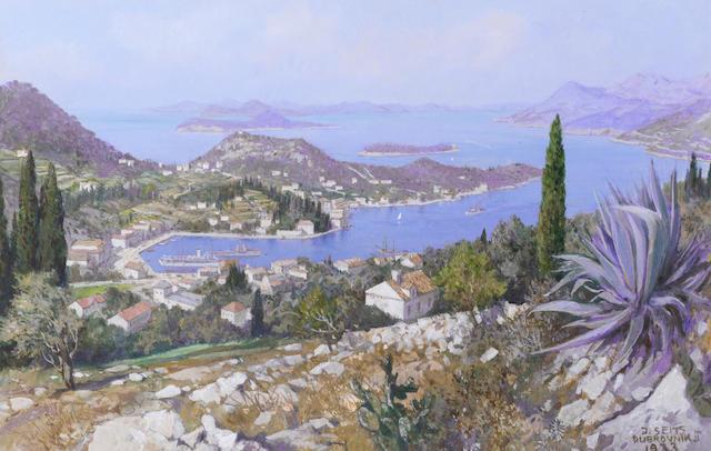 Johann Seits (Polish, 1887-1967) Coastal views of Dubrovnik, a pair 22 x 35 cm. (8 3/4 x 13 3/4 in.); 22 x 19.5 cm. (8 3/4 x 7 3/4 in.) (2).