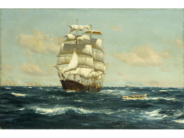 Thomas Jacques Somerscales (British, 1842-1927) A Windjammer heaving to off Valparaiso 49.5 x 75.6cm. (19 1/2 x 29 3/4in.) unframed