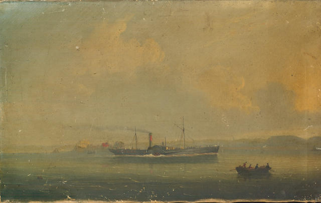 Philip John Ouless (British, 1817-1885) The Jersey-St.Malo paddle steamer 'Superb' outward bound from St.Helier, with Elizabeth Castle off her stern 40.7 x 66cm. (16 x 26in.) unframed