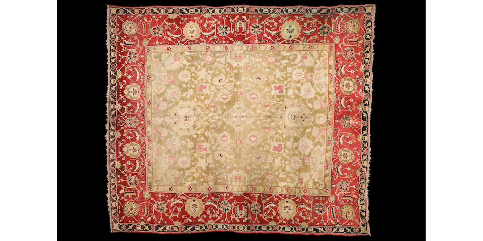 An Agra carpet of unusual size, North India, 10 ft 8 in x 9 ft 1 in (326 x 277 cm)