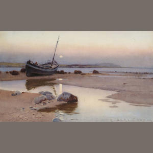 Hubert Coop (British, 1872-1953) Beached fishing vessel, 29.5 x 49.5 cm.