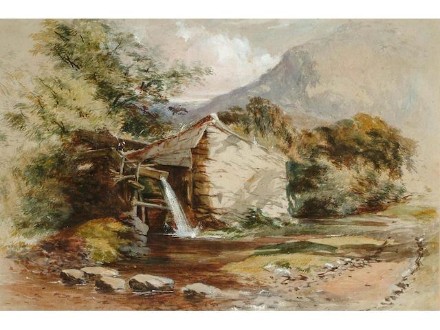 Follower of William J.Muller, A mountain hut, 35 x 51.5cm.