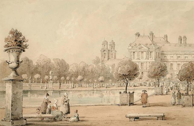 Lady Amelia Farnborough (Long) (British, 1772-1837) The Luxembourg Palace, Paris, 27 x 41.5 cm.
