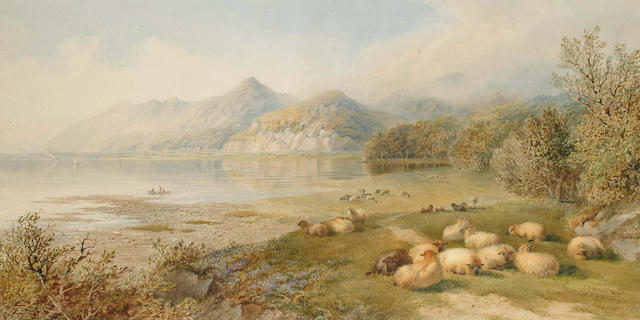 Cornelius Pearson (British, 1805-1891) and Thomas Francis Wainewright (British, 19th Century) Cattle and sheep before a loch, 36.5 x 71 cm.