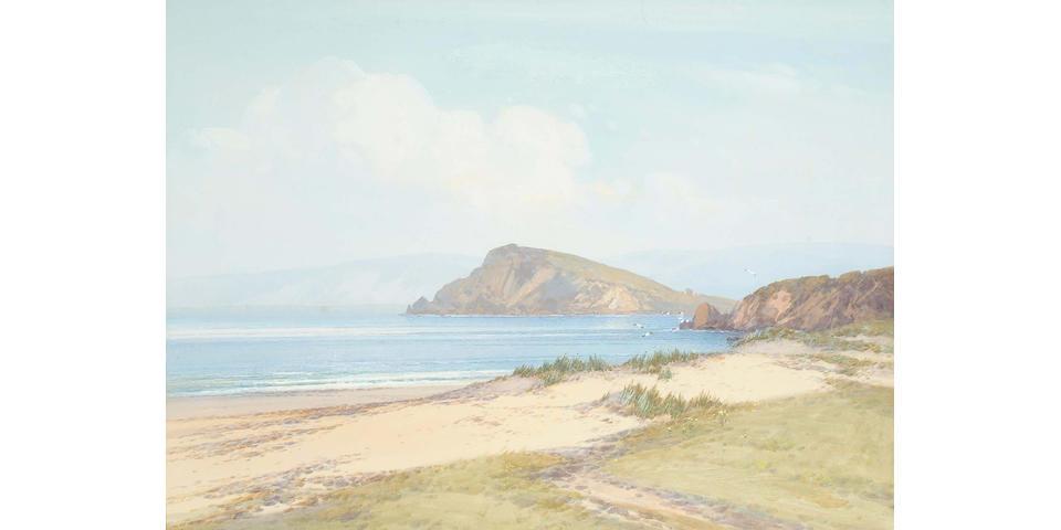 Frederick John Widgery (British, 1861-1942) Burgh Island, Bigbury Bay, Devon, 44.5 x 60 cm.