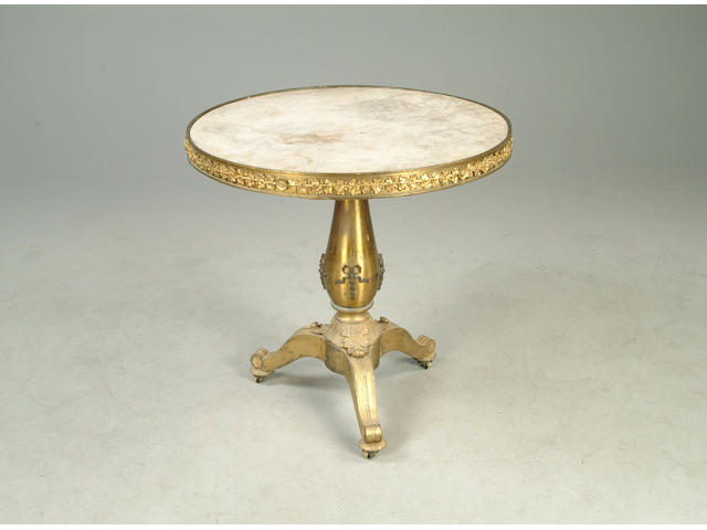 An unusual 19th century brass centre table