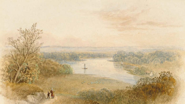 Cornelius Pearson (British, 1805-1891) Views across a lake, 9 x 15 cm, largest.