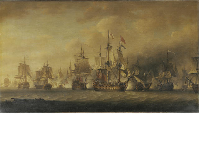 Nicholas Pocock (British, 1740-1821) A Naval engagement 61 x 106.7cm. (24 x 42in.)