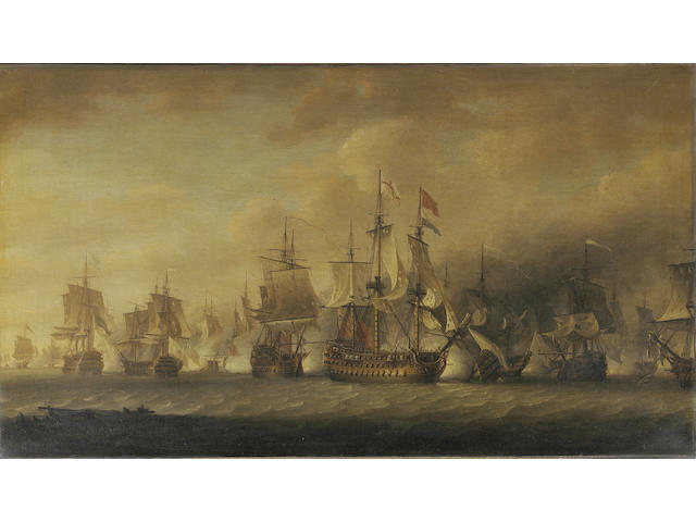 "Nicholas Pocock (British, 1740-1821) Admiral Rodney's flagship ""Formidable"" raking the enemy with a port broadside early on in the battle of the Saintes, 12th April 1782, 61 x 106.7cm. (24 x 42in.)"