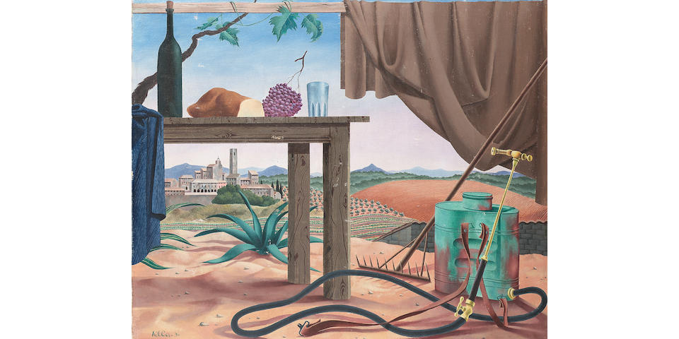 Tristam Hillier Still life with bread, grapes and wine in a lanscape framed