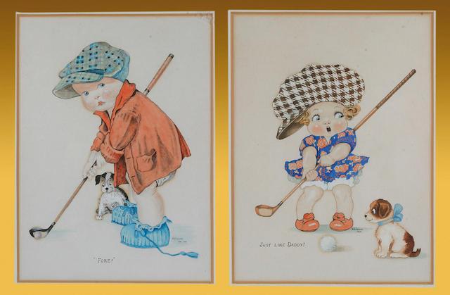 W E Cornish - a pair of golfing watercolours,