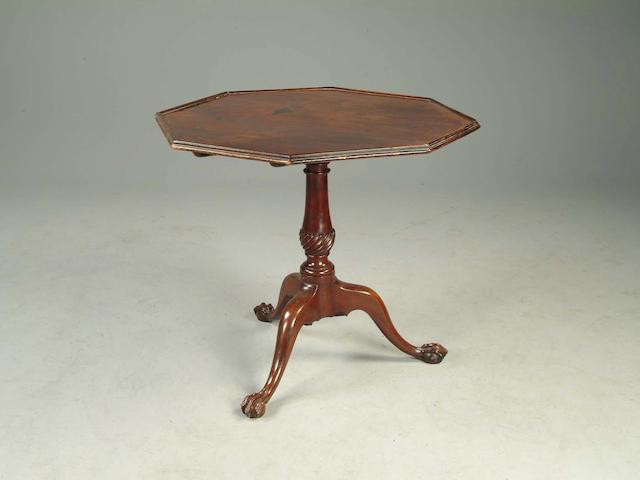 A George III style mahogany tilt-top tea table,