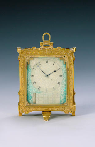 A mid 19th century engraved and lacquered brass strut timepiece with manual calendar in the manner of Thomas Cole C.F. Hancock, London