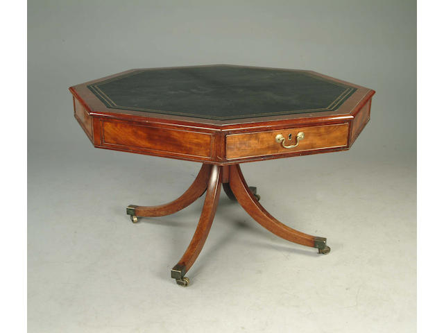 A Regency mahogany octagonal library table
