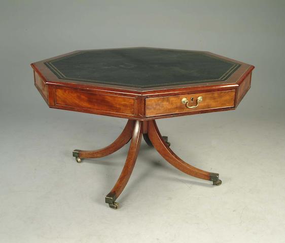 A Regency mahogany octagonal library table