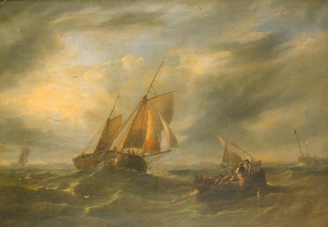 John Wilson Carmichael (British, 1799-1868) Fresh breeze 86.4 x 122cm. (34 x 48in.)