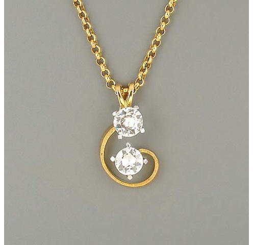 A diamond two-stone pendant