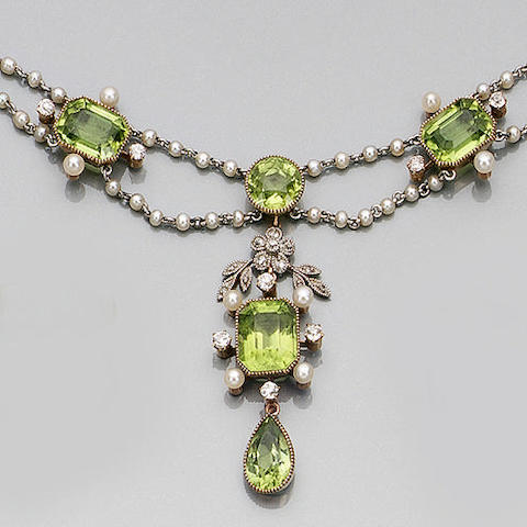An Edwardian peridot, seed pearl and diamond necklace,