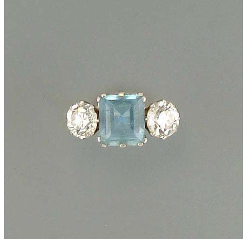 An aquamarine and diamond three-stone ring