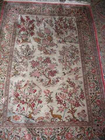 A silk Qum rug Central Persia, 154cm x 104cm