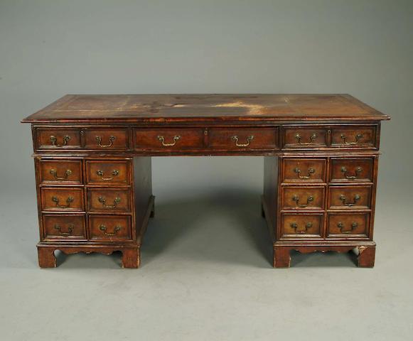 A mahogany pedestal partner's desk