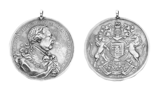North American Indian Chiefs Medal 1814, silver, by T.Wyon Jr., 75mm dia., obv. bust of George III facing right, rev. Royal Arms, crest, supporters and motto, 1814 below. (Jamieson 24-6, Eimer 1061).