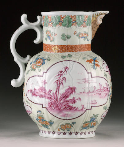 An unusual Worcester cabbage leaf mask jug circa 1758