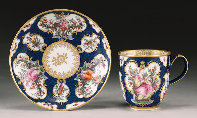 A particularly fine Worcester coffee cup and saucer circa 1768