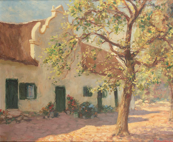 Edward Roworth oil on canvas Springtime Stellenbosch