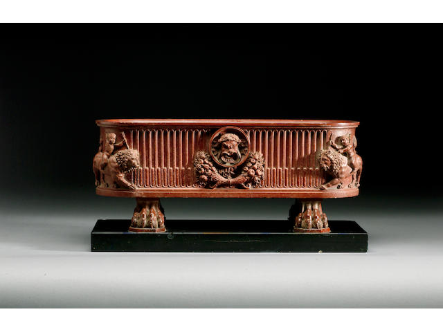 Benedetto Boschetti (Italian, fl. 1820-70): A mid 19th century marmo rosso antico Model of a Water Trough or Cistern,