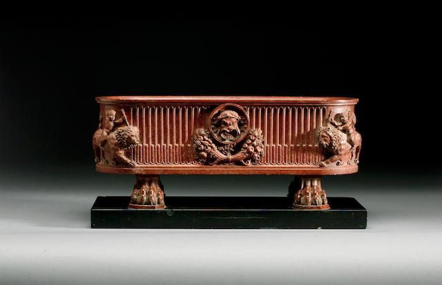 Benedetto Boschetti (Italian, fl. 1820-70): A mid 19th century marmo rosso antico Model of a Water Trough or Cistern,