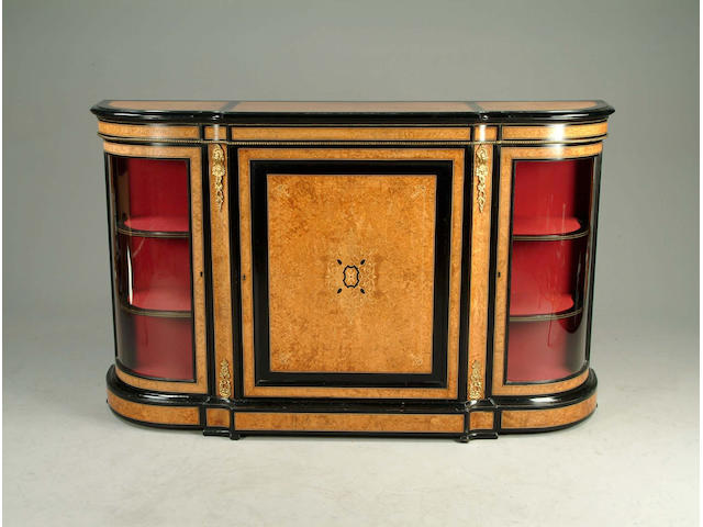 A Victorian amboyna, ebonised and gilt metal mounted credenza
