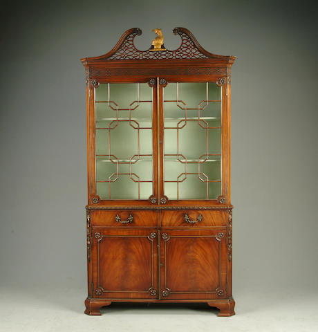 A 20th Century Chippendale style mahogany bookcase