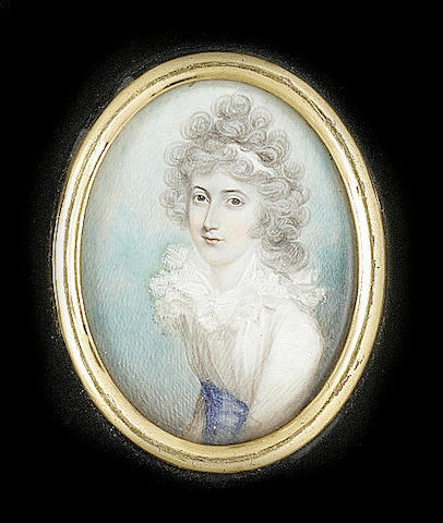 Circle of Richard Cosway, A Lady, wearing white dress with blue waistband and white bandeau in her powdered hair