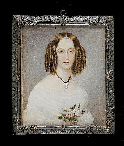 Austrian School, A Lady, wearing white dress, pearl pendant on a black ribbon and roses at her corsage