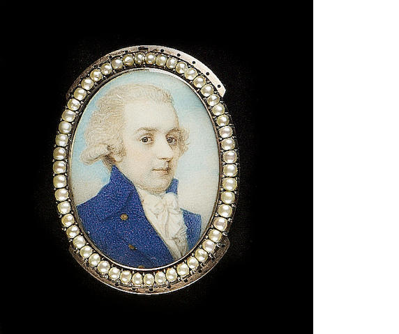 Circle of Richard Cosway, A Gentleman, wearing blue coat with gold buttons, white waistcoat and cravat, his hair powdered