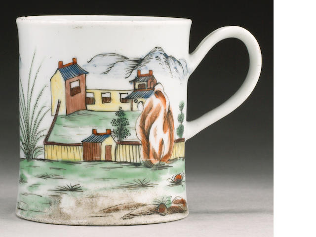 A very rare Worcester coffee can or small mug circa 1756