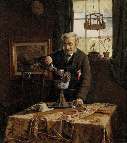Charles Spencelayh, RMS, HRBSA (British 1865-1958) Filling the lamp 41 x 36.5 cm. (16 x 14 1/4 in.)