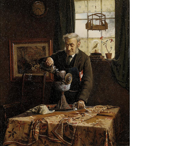 Charles Spencelayh RMS, HRBSA (British, 1865-1958) Filling the lamp 41 x 36.5 (16 x 14 1/4 in.)