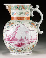A remarkable Worcester cabbage leaf mask jug circa 1758