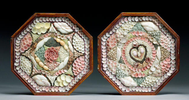 A Double Cased Shell Valentine 35 x 35 x 4cm.(14 x 14 x 1.5in.)each. (2)