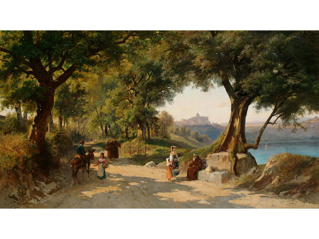 Johan Zhand (Swiss, 1854 - 1934) Figures on a country road with Rome in the distance 63.5 x 110cm