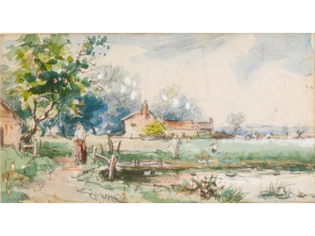 Myles Birket Foster R.W.S. (British, 1825-1899) A view of a rural cottage, 8 x 15 cm.